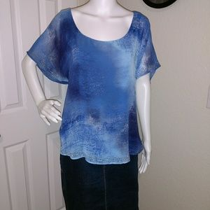Fabulous, PLUS, shades of blue top w/ bead detail